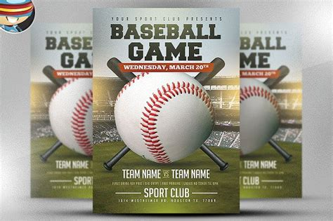 Baseball Flyer Template 2 Flyer Templates Creative Market Baseball Flyer Template