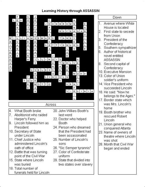 the life of abraham lincoln crossword puzzle answer key know before you go worksheets for your dc class trip