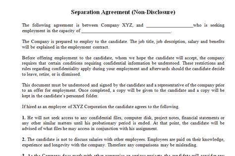employment confidentiality agreement template non disclosure agreement template for employee dotxes