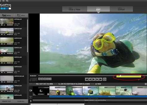 move clip slider in gopro studio template editing click