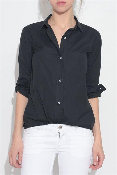 Bj 0729 Black Button Slim Dress black button shirt story