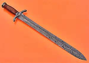 online selling damascus sword knife with rose wood handle 1719
