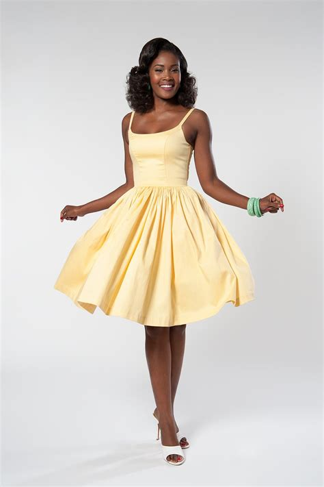 7 Gorgeous Dresses By Pinup Couture by Pinup Couture Dress In Yellow Sateen Pinup