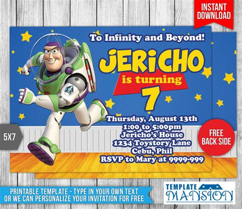 buzz lightyear story birthday invitation by