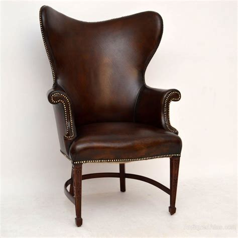 stylish armchairs stylish antique leather mahogany wing armchair
