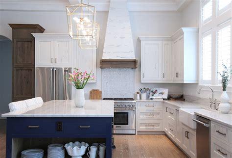 white blue kitchen slate blue island white kitchen cabinets white glass tile