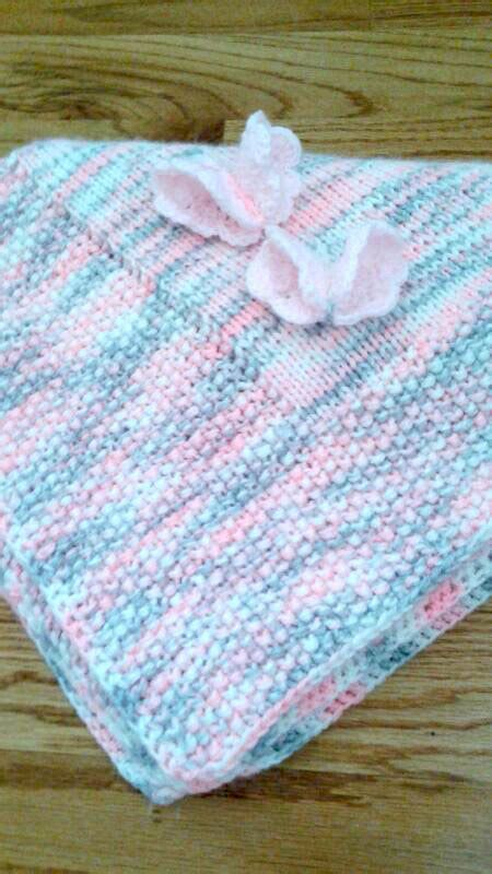 Handmade Knitted Blankets - pink gray knit baby blanket handmade baby blanket butterfly