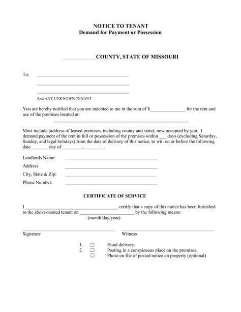 printable eviction notice missouri missouri notice to quit form non payment of rent