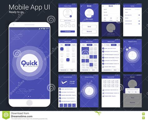 web layout for mobile file transfer mobile app ui ux and gui layout stock