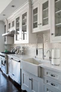 Kitchen Backsplash With White Cabinets White 1x2 Mini Glass Subway Tile Subway Tile Backsplash
