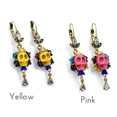 dia de los muertos jewelry day of the dead earrings orange day of the dead sugar skull earrings