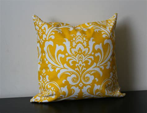 yellow decorative bed pillows decorative throw pillow cover yellow and white damask