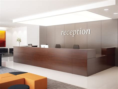 Office Furniture Reception Desk Counter Ashford Reception Corner Metal Desk In Walnut Radius Office