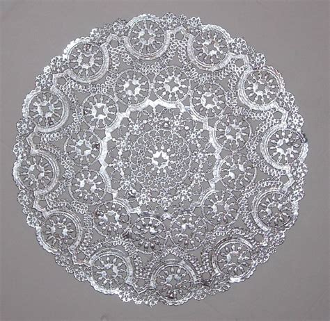 Paper Doilies - 8 metallic silver paper doilies medallion style 10 inch