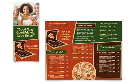 pizza menu template word pizza pizzeria restaurant take out brochure template design