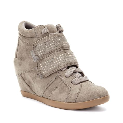 stud wedge sneakers material visitor studded wedge sneakers in beige