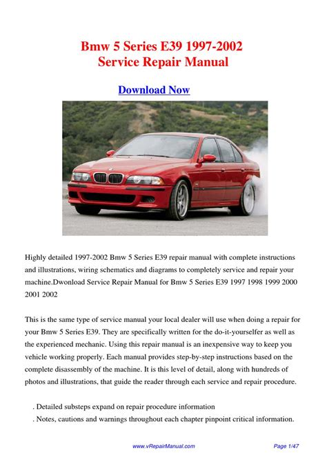 service manual bmw e39 1997 2002 service repair manual download 28 97 e39 bmw 540i owners
