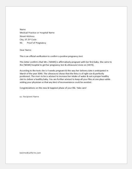 Letter From Doctor To Patient Confirming Pregnancy proof of pregnancy letter from doctor printable