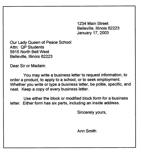 Personal Business Letter In Modified Block Format personal business letter format sle business letter