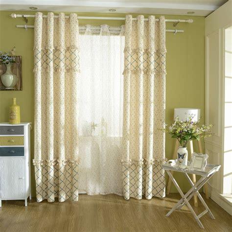 cotton blackout curtains korean type fresh yellow blue floral printing window