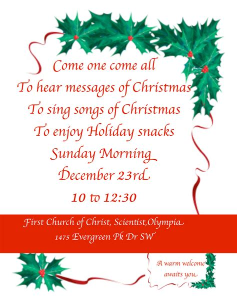 Invitation Letter For Carol Join Us Dec 23 For Our Early Service Church Of Scientist Olympia