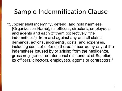 indemnification clause template meetings and the creating and managing a risk