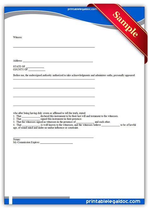 free printable last will and testamant simple form generic