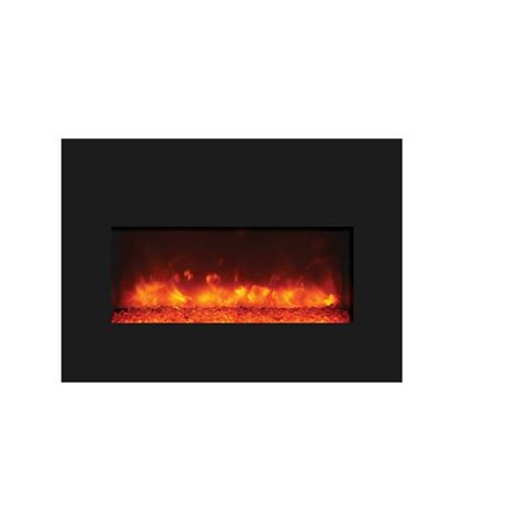 amantii large insert electric fireplace with black glass