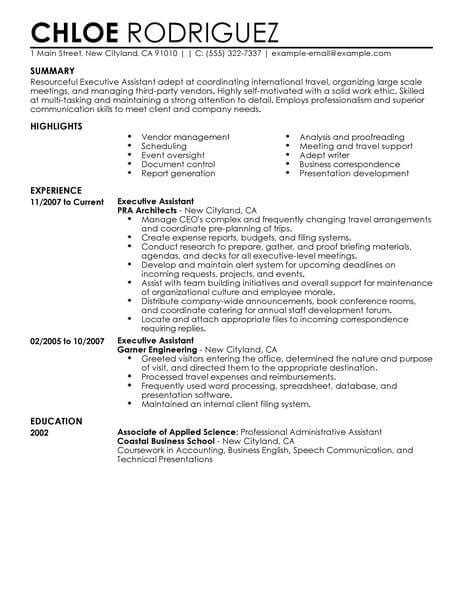 exle of a resume for a assistant best executive assistant resume exle livecareer