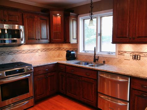 kitchen backsplash for cherry cabinets interior design