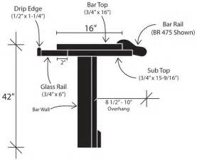 Standard Bar Top Overhang by Standard Bar Dimensions Specifications Diy