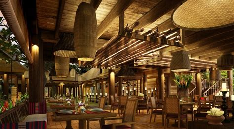 Makan Meja Di Restoran Central inspirasi restoran bambu desain modern dari bahan ramah
