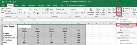 format excel column width excel tip format equal column widths microsoft excel