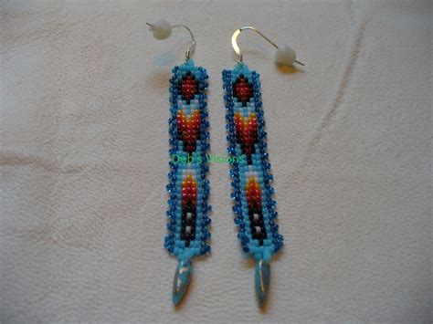 bead loom earrings american style loom beaded earrings in blues and