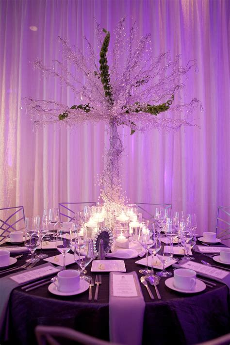 glamourous wedding reception table high non floral