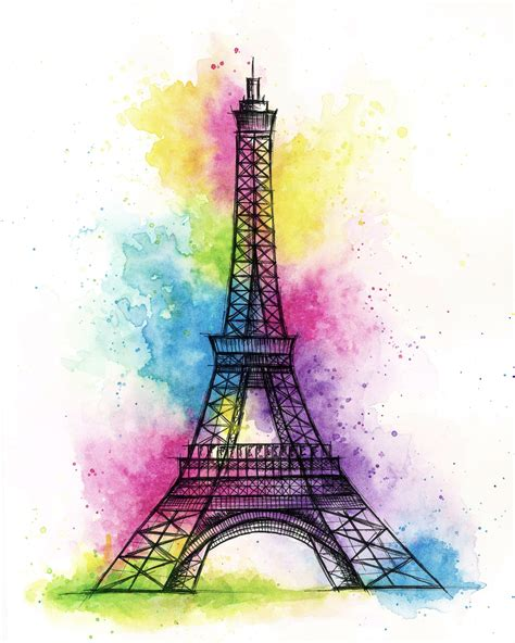 watercolor tattoos paris eiffel tower watercolour tattoos