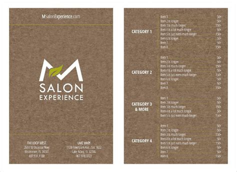 spa menu template 9 salon menu templates psd vector eps ai illustrator