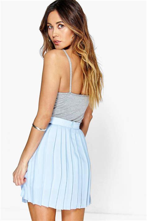 Chiffon Pleated Mini Skirt by Boohoo Womens Cate Chiffon Pleated Mini Skirt Ebay