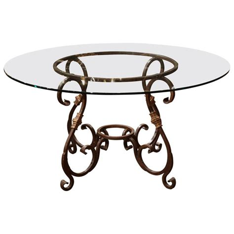 Wrought Iron Base Dining Table Wrought Iron Table Base With Glass Top At 1stdibs