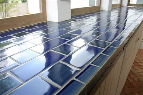 Blue Tile Kitchen Countertop by Blue Tile Kitchen Countertop Blue Tile Trim Blue Tile