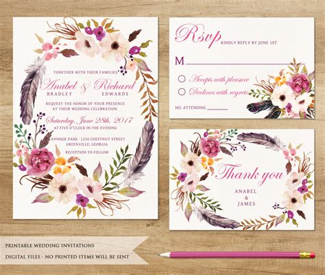 Wedding Invitation Card Style by Excellent Boho Wedding Invitations Theruntime