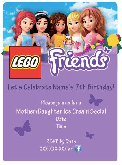Lego Friends Party Invitations Lego Friends Party Sle Invitation Used High Res Image Friends Themed Invitation Template