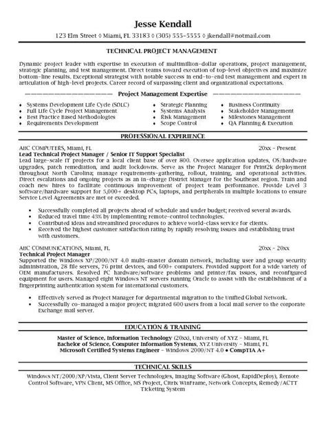 Resume Objective Manager project management resume objective the best letter sle
