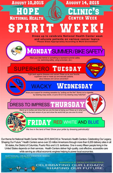 National Health Center Week 2015 Nhcw Free Spirit Week Flyer Template