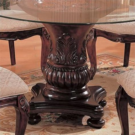 Traditional Glass Dining Table Coaster Traditional Dining Table With Glass Top In Cherry 101030 Cb4xrd