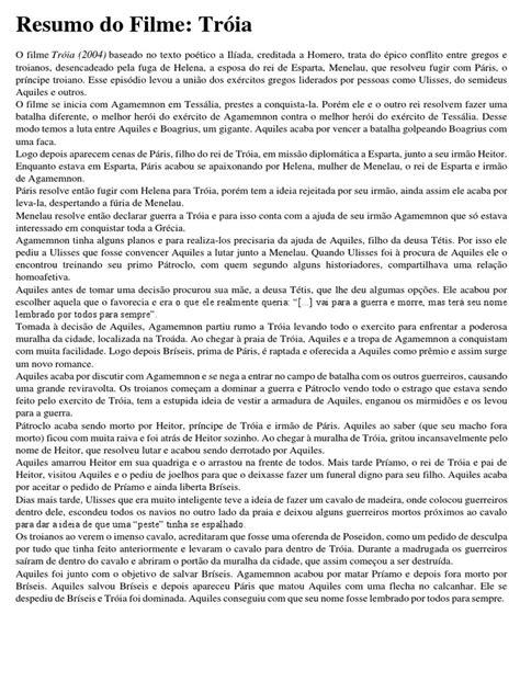 Resumo Do Filme Troia | Aquiles | Paris (Mitologia)