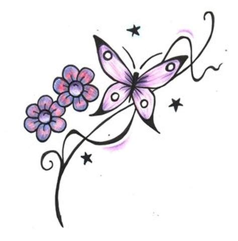 butterfly with flowers stars design tattoo tattoos book