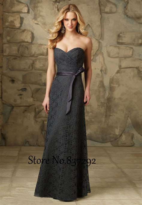 Cheap Grey Lace Bridesmaid Dresses Sweetheart Long Floor Length Wedding Guest Dress Gowns 2016
