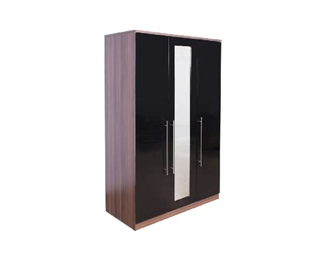 Black Gloss Mirror Wardrobe by Gfw Modular 3 Door Walnut And Black Gloss Wardrobe With