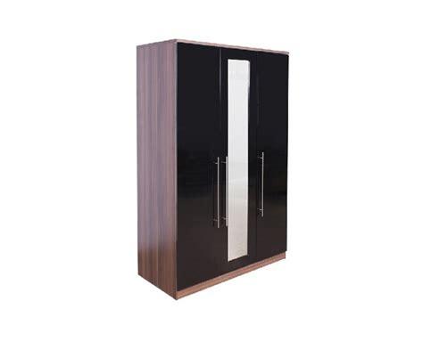 Modular Wardrobe Doors by Gfw Modular 3 Door Walnut And Black Gloss Wardrobe With
